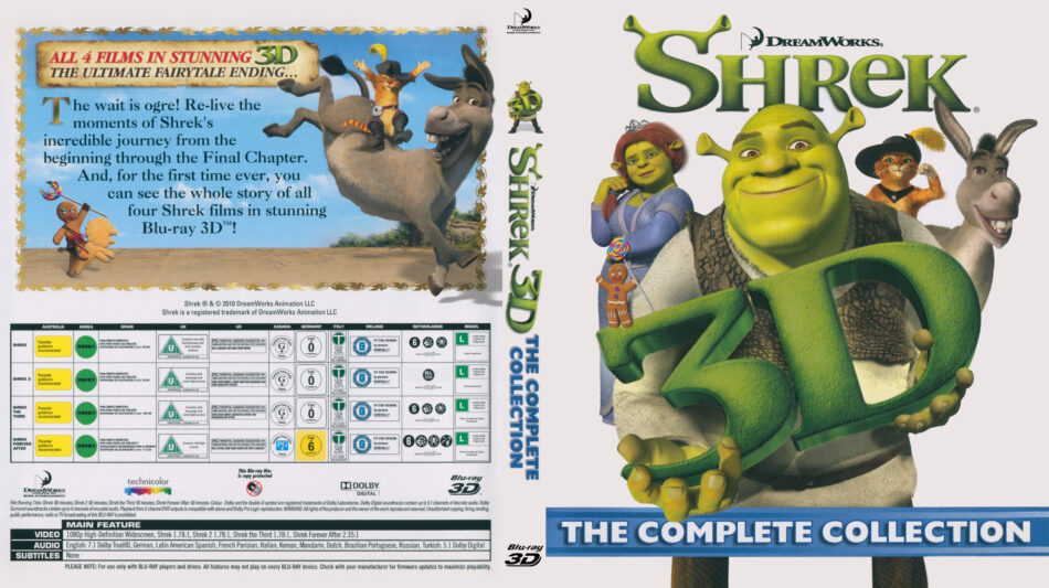 Shrek 3D, The Complete Collection (Blu-ray) dvd cover