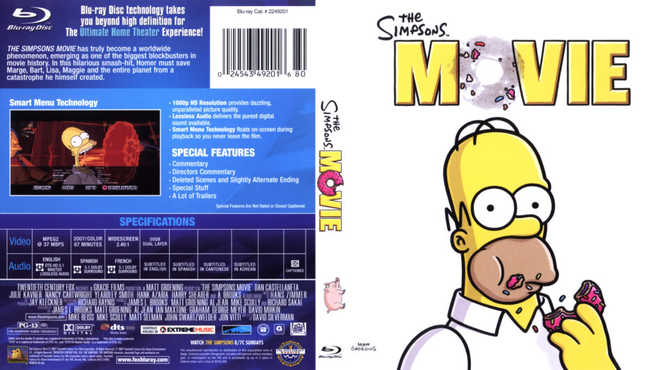 The Simpsons Movie Blu Ray Dvd Cover 2007