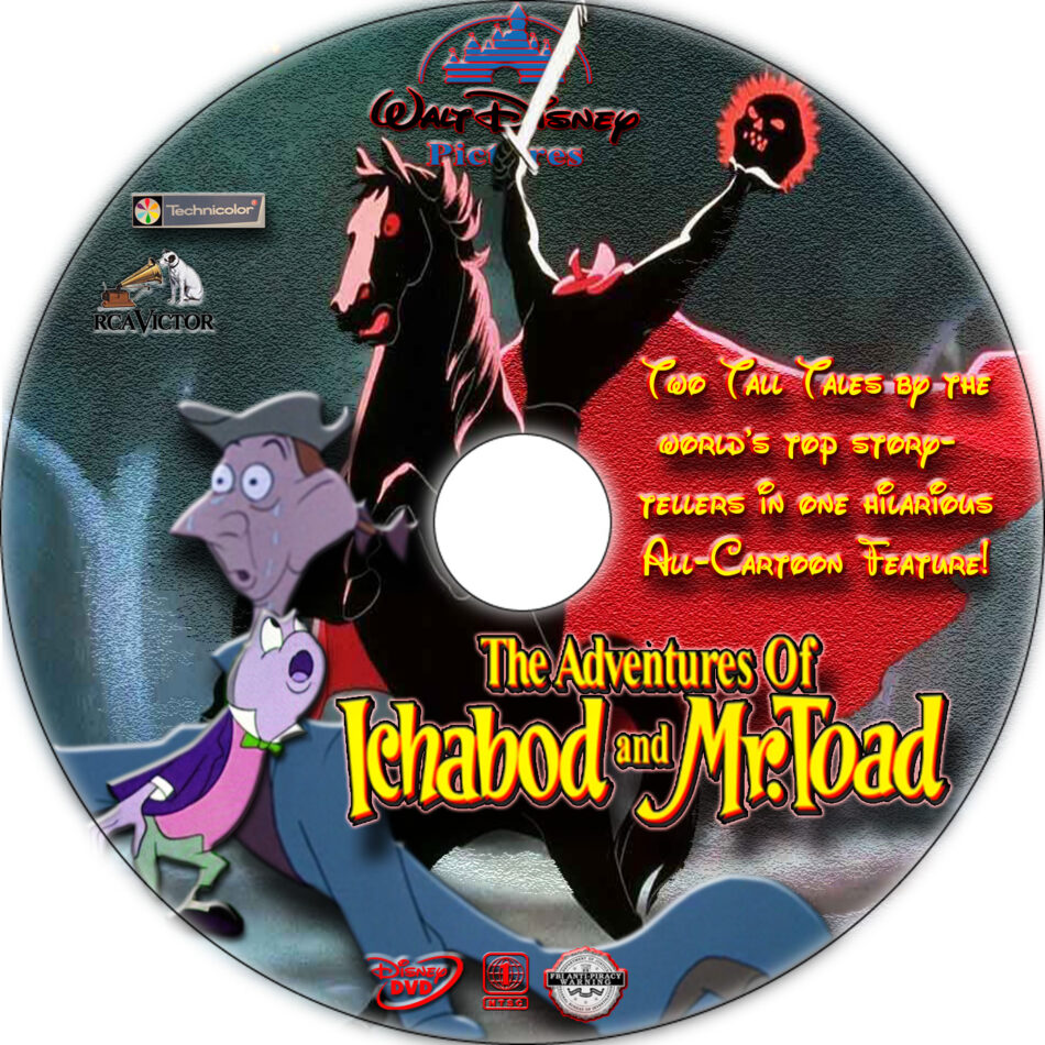 The Adventures of Ichabod and Mr. Toad dvd label