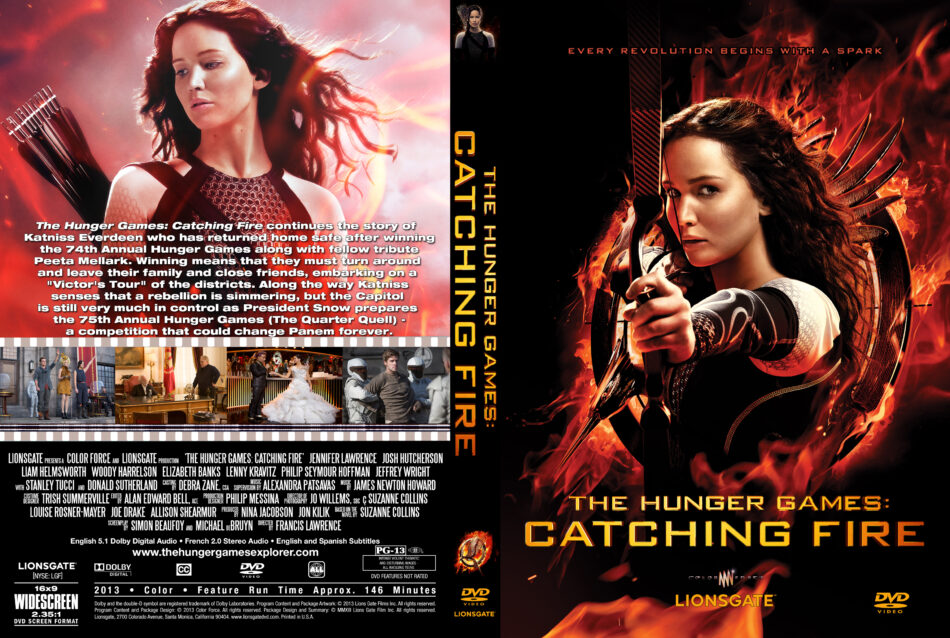 The Hunger Games Catching Fire Dvd Cover Labels 2013 Custom Art