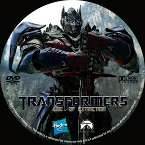 Transformers Age of Extinction dvd label