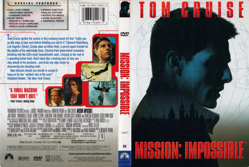 Mission Impossible 1996 R1 Movie Dvd Cd Label Dvd Cover Front Cover