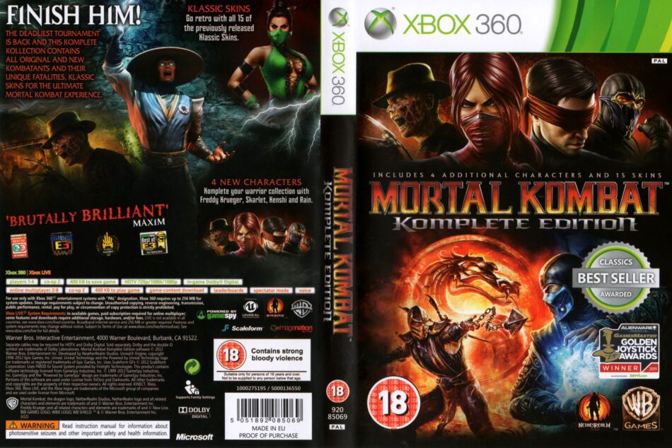 Mortal Kombat Komplete Edition 2012 Pal Xbox 360 Cd Label
