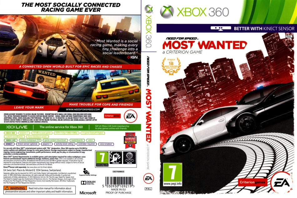 Need For Speed Most Wanted 2012 Pal Xbox 360 Cd Label Dvd