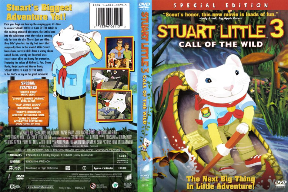 Stuart Little 3 Call Of The Wild 2006 R1 Cartoon Dvd Cd Label Dvd Cover Front Cover