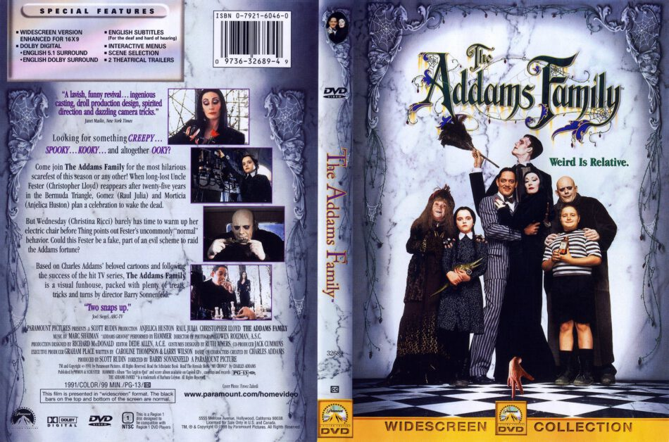 The Addams Family 1991 Ws R1 Movie Dvd Cd Label Dvd Cover Front Cover