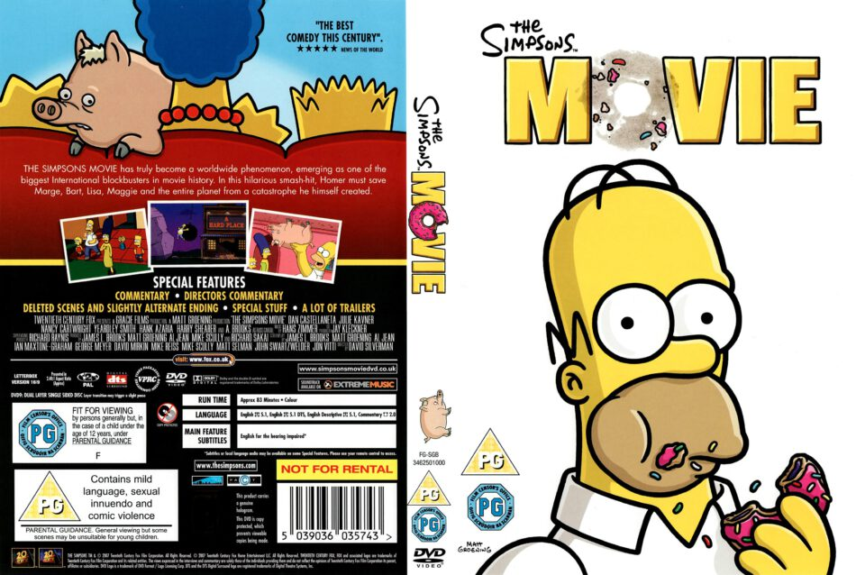 The Simpsons Movie 2007 Ws R2 Movie Dvd Cd Label Dvd Cover Front Cover