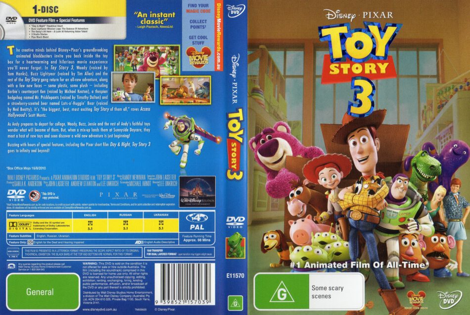Toy Story 3 2010 Ws R4 Retail Movie Dvd Cd Label Dvd Cover